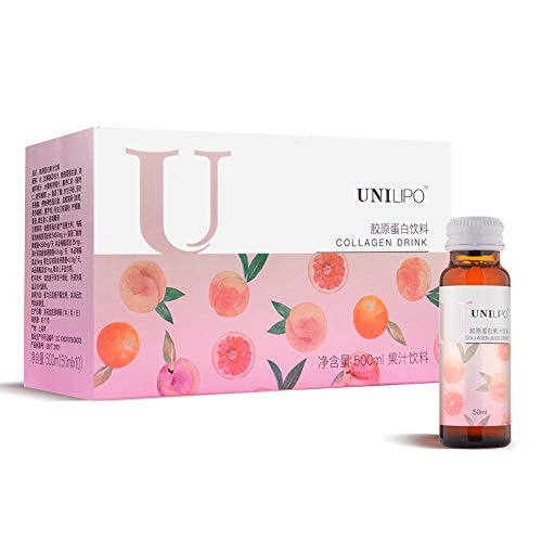 UNILIPO Liquid Collagen Drink, Vital Proteins Collagen Peptides, Fish Collagen Peptides with Vitamin C and Ceramide for Anti-Aging and Moisturizing, Collagen Drink for Skin and Good Sleep 10 Pcs