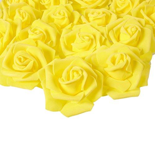 Capullos de Flores Artificiales – Paquete de 100 rosas artificiales – Amarillas, de 7,6 cm x 7,6 cm x 3,2 cm