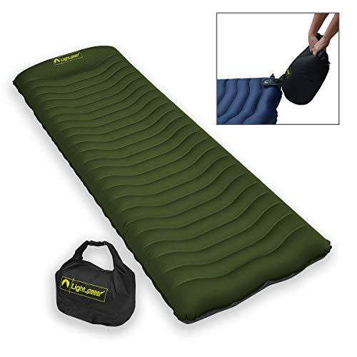 Lightspeed Outdoors Ultralight Flexform Curved Inflatable Air Mat with Pump Bag | Compact Single Air Mattress| The Cradle Air Mat (Chive/Iron Gate)