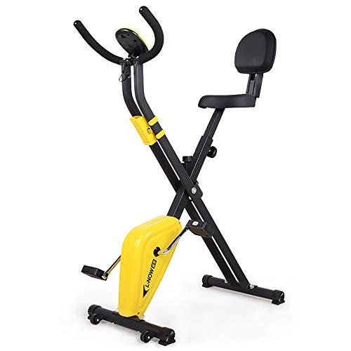 Tingeart Bicicleta Estática Plegable Ajustable Bicicleta Fitness Pantalla LCD, Bicicleta de Ejercicios Aeróbicos Sport para Interiores Entrenamiento Ejercicios Cardiovasculares B
