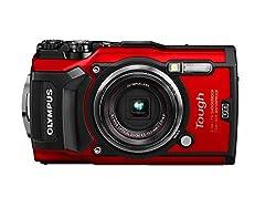 Olympus Tough TG-5 Digitalkamera (12 MP, 25-100mm 1:2,0 Objektiv, GPS, Manometer, Temperatursensor, Kompass) rot