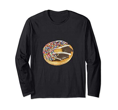チョコレートとバニラのアイシングとカラースプリンクルのドーナツ 長袖Tシャツ