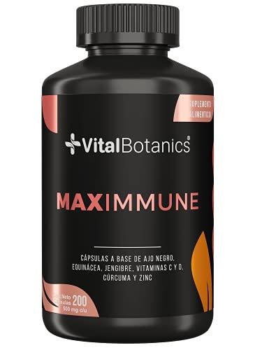 VitalBotanics. MAXIMMUNE Suplemento Multivitamínico 6 en 1 para Fortalecer tu Sistema Inmune con Vitamina C , D3, Zinc, Equinacea, Ajo, Jengibre y Curcuma con 200 capsulas para Niños y Adultos. Immune System Booster Supplement.
