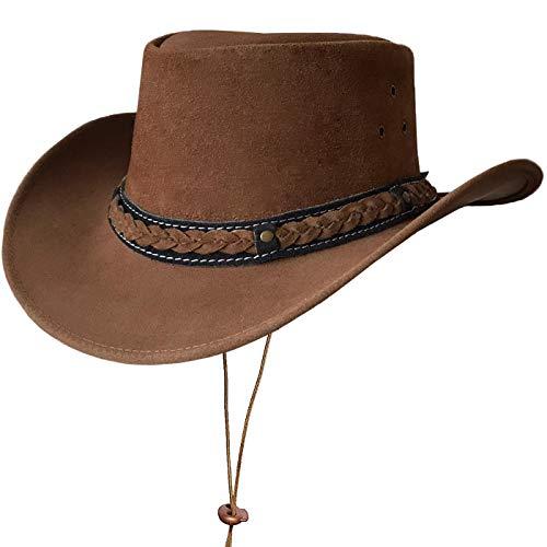 BRANDSLOCK Australischer Lederhut mit geflochtenem Band Original Cowboy Australischer Buschhut (M, Kamel)