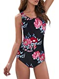 Bathing Suit Tummy Control Bathing Suits for Women Sporty Athletic Womans One Piece Womens Swimsuit Teens Red-Floral 10-12