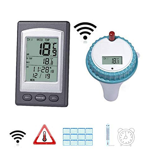 Kinberry Schwimmendes Thermometer Hygrometer Display Wireless Digital Remote Outdoor Pool mit Emitter Remote LCD Display Wasserdicht für Schwimmbad Whirlpool Teich Spa