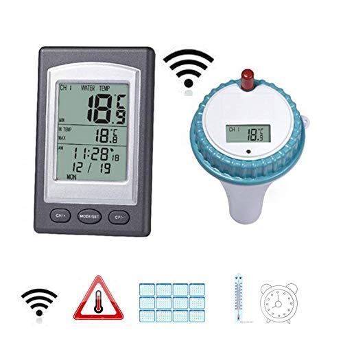 Kinberry Schwimmendes Thermometer Hygrometer Display Wireless Digital Remote Outdoor Pool mit Emitter Remote LCD Display Wasserdicht für Schwimmbad Whirlpool Teich Spa