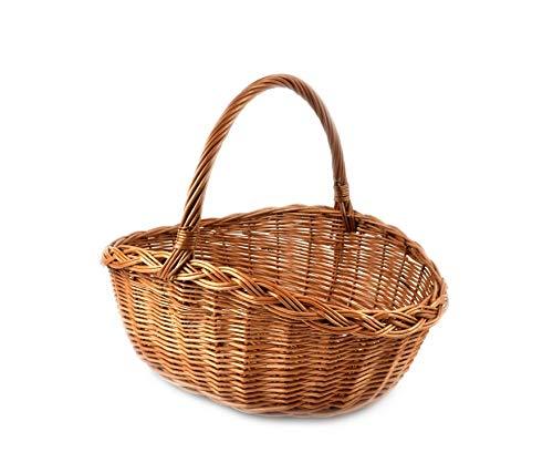 PM24 Rattankorb Weidenkorb Einkaufskorb Picknickorb Stabiler Tragekorb oval aus Rattan geflochten K1-550_G