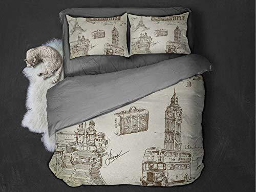 Travel 100% washed microfiber bed set Sketch Art Collection of Travel Over European Landmarks and Vintage Style Suitcase Super soft and breathable duvet cover (Twin) Beige Black