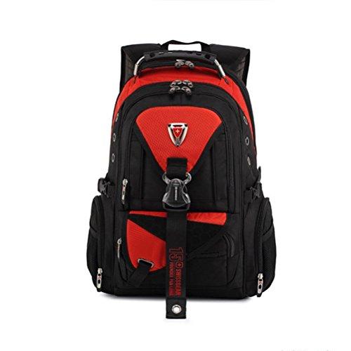 Épaules Ordinateur portable Sac à dos Imperméable Tissu Oxford Voyager Daypack , red