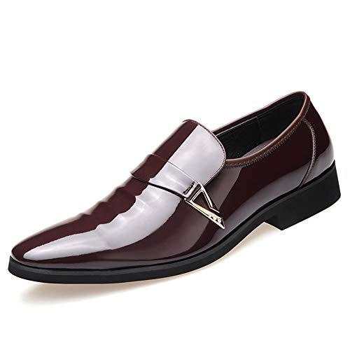 Candys house Zapatos formales Oxford de moda para hombre, estilo casual, simple, decoración de metal, parte superior baja, de charol (color: marrón, talla: 6.5UK)