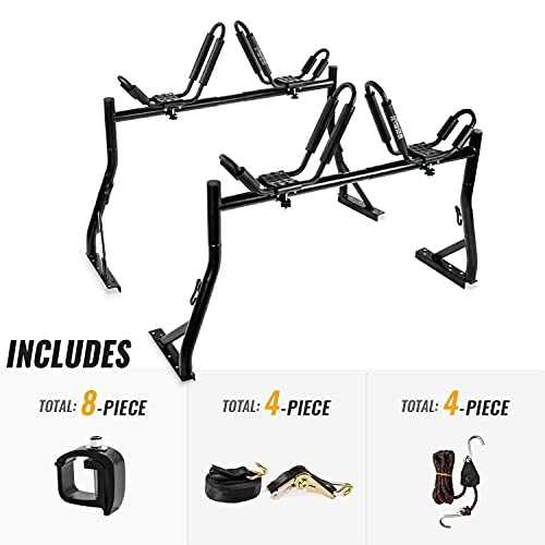 AA-Racks Model X35 Truck Rack with 8 Non-Drilling C-Clamps and 2 Sets Kayak J-Racks with Ratchet Lashing Straps & Ratchet Bow and Stern Tie Down Straps