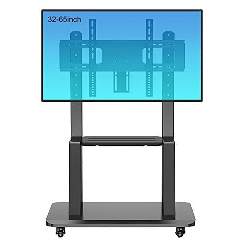 Soporte TV Trole Soporte Universal Negro para TV con Soporte y Ruedas, Se Adapta a Televisores LCD LED de 32 a 65 Pulgadas, Carro de TV Móvil Ajustable en Altura para Sala de Estar del Dormitorio