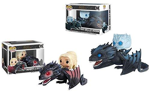 Funko POP! Game Of Thrones: Daenerys & Drogon + Night King & Icy Viserion - Glow In The Dark Vinyl Figure Set NEW