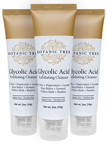Travel Size Botanic Tree Glycolic Acid Face Wash Exfoliating Cleanser (Pack of 3) w/10% Glycolic Acid- AHA For Wrinkles and Lines Reduction-Acne Face Wash For a Deep Clean- Contains Organic Extracts Such As Bamboo, Shea Butter,And Tea Tree. It Helps For Cystic Acne.