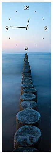 levandeo Wanduhr aus Glas 20x60cm Uhr als Glasbild Ozean Meer Strand Steg Sonnenuntergang Deko