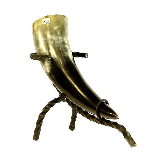 Trinkhorn ca. 0,1l mit Trinkhornständer Methorn mit Horn Ständer