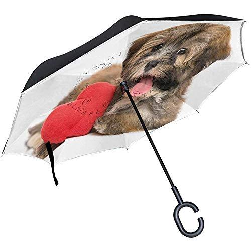 Paraguas inverso Que Vende Perros Lindos en el día de San Valentín Paraguas invertido Reversible al Aire Libre Negro