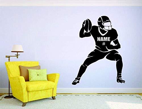 Wandtattoo Kinderzimmer American Football Wandbild Vinyl Aufkleber Aufkleber Dekor Spieler benutzerdefinierten Namen und Nummer personalisiert für Kinderzimmer Kinderzimmer junge Geschenk