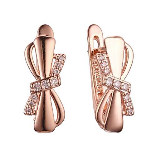 BAJIE Pendientes Pendientes para Mujer 585 Pendientes Colgantes de joyería de Cristal con Lazo de Color Oro Rosa