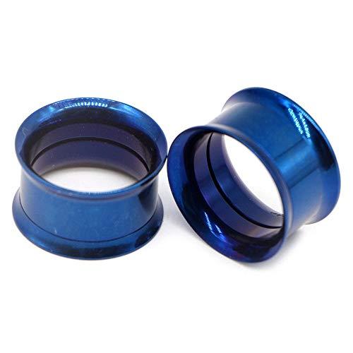 2 uds tornillo de acero quirúrgico apto para oreja tapones de túnel de carne anodizado rosca interna doble ensanchado hueco expansor de oreja calibre joyería-C-Azul_2 mm