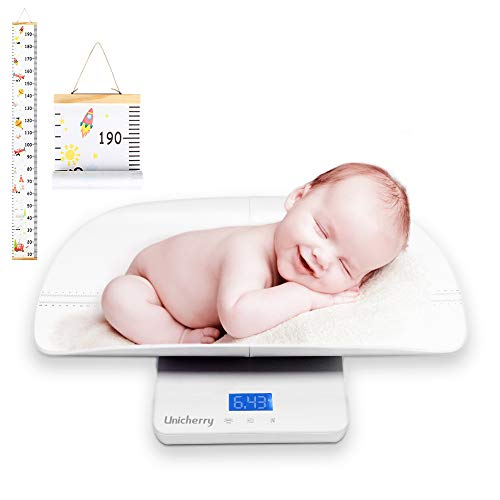 Baby Scale, 2 in 1 Digital Baby Scale with Free Growth Chart to Measure Your Baby, Pet Weight Accurately, Baby Weighing Scale with 4 Weighing Modes, Holding Function, Blue Backlight, Height Tray