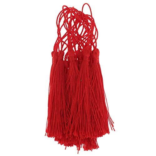Milisten 20 unidades de borlas suaves y sedosas con lazos, borlas colgantes para manualidades, suministros para joyas, nudos chinos, marcapáginas, cortina (rojo)