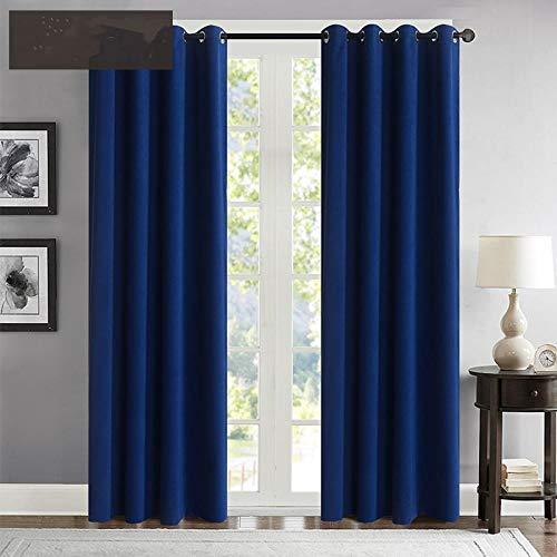 rostsp Gardinen Einfarbige Verdunkelungsvorhänge Mit Modernen Samtvorhängen Für Wohnzimmerfenster. Fertige Vorhänge Ösen Oben (Ringe)-Blau_B100Cm X H120Cm
