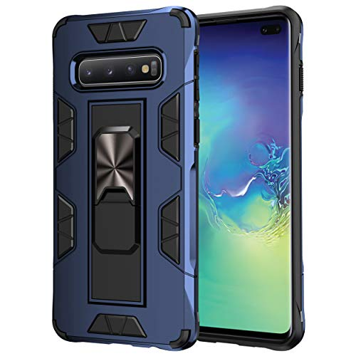 KUAWEI S10 Hülle Samsung Galaxy S10 Ständer eingebautem Case Cover, Doppelte Schutzschicht Handyhülle Extrem Fallschutz Schutzhülle für Samsung Galaxy S10 (Blau)