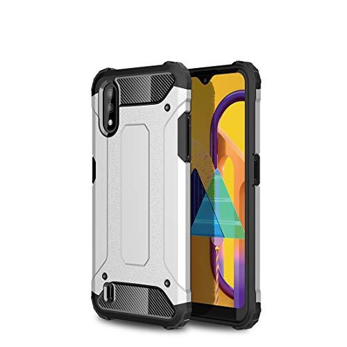 GUOQING Carcasa de acero para Samsung Galaxy M01, resistente y duradera, funda protectora de grado militar, goma interior suave de TPU + PC avanzada.