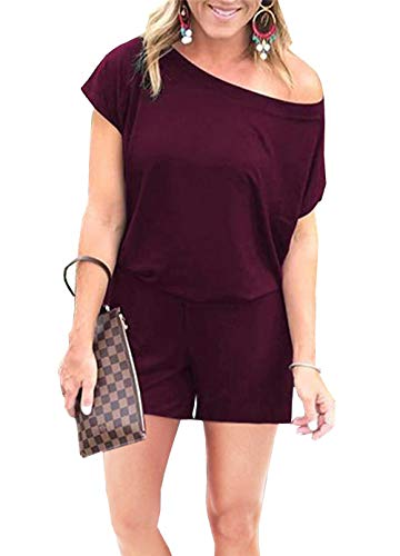 PRETTYGARDEN Women's Summer Casual Off Shoulder Short Sleeve Loose Jumpsuit Rompers with Pockets (Wine Red, Large)