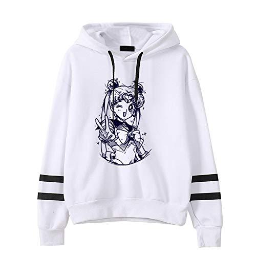 CREPUSCOLO Women's Sailor Moon Hoodies Striped Long Sleeve Sweatshirt Fans Gift(M Luna-White)