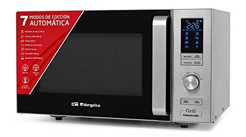 Orbegozo MIG 2528 CO - Microondas grill y convección, 25 L, 6 niveles de potencia, display digital LED, 7 menús preconfigurados, temporizador, programa descongelación, 900-1950 W
