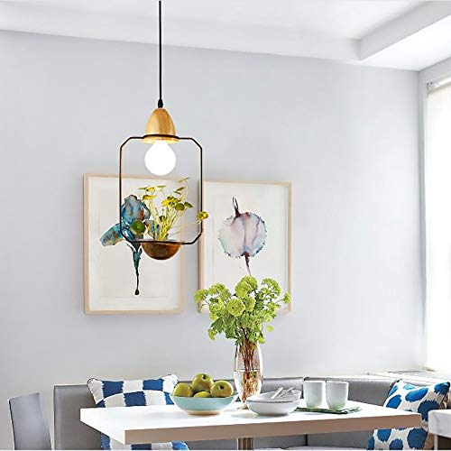 XXYHYQHJD Jardín Restaurante Iluminación de Cristal Flor de la Planta Barra de Hierro labrado Colgante de luz