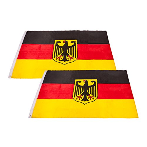 Smartfox 2X Deutschlandfahne Landesfahne Nationalflagge Bundesadler Germany BRD Fanfahne Hissflagge EM WM Fahne Flagge mit Metallösen in 90 x 150 cm