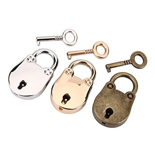 3 Set Mini hangsloten Met sleutels, Mini Beer Vorm Hangslot, Vintage Antieke Stijl Hangsloten Met Sleutels voor Handtas Decoratie Zilver, Goud en Brons