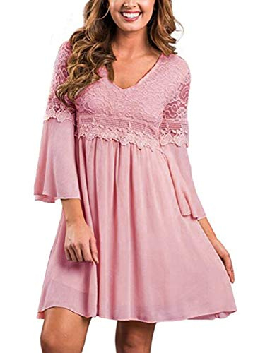 ZANZEA Women's Vintage Floral Lace V Neck 3/4 Bell Sleeve Cocktail A-line Swing Party Casual Mini Dress Pink S