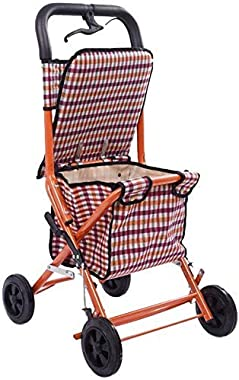 LIMEI-ZEN Shopping Trolley, Convenient Folding Trolley - Four-Wheeled Shopping Cart for The Elderly - A Walker with Wheeled S