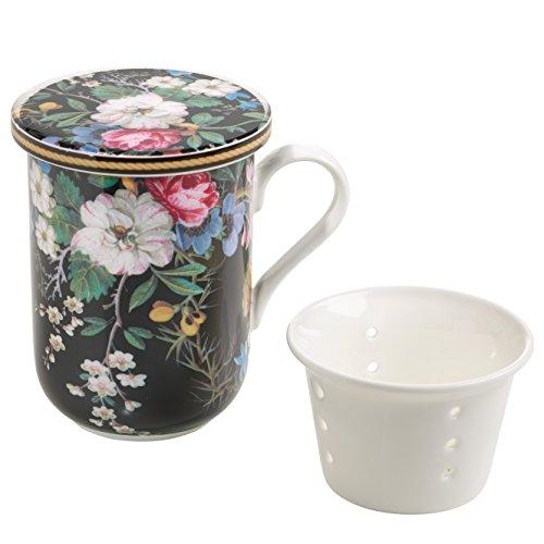 Maxwell & Williams Kilburn Deckel & Teesieb, Midnight Blossom, Geschenkbox, Porzellan, WK01455 Becher, schwarz, bunt, 11 x 8.5 x 11 cm, 3-Einheiten