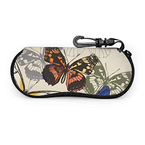 AEMAPE Patrón de mariposa Mariposas coloridas Estuche para anteojos juveniles Estuche para anteojos para niñas Estuche ligero portátil con cremallera Estuche blando para gafas de sol Estuche de viaje