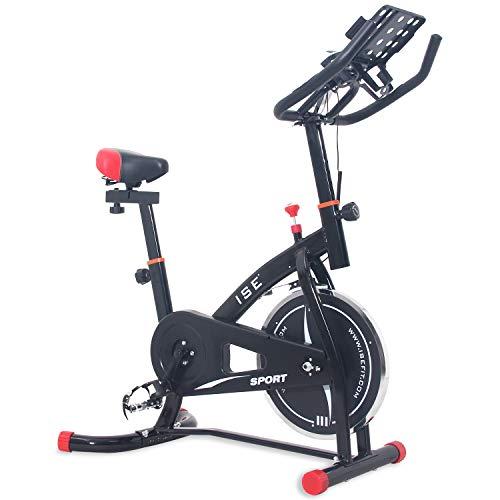 ISE Spinning Bike Indoor Cardio Bici da Fit con Porta Tablet,Volante di Inerzia 10 kg,Salvaspazio & Silenzio Fitness, Max. 135 kg, SY-7804S (Nero)