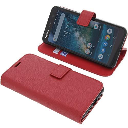 foto-kontor Tasche für Ruggear RG850 Book Style rot Schutz Hülle Buch