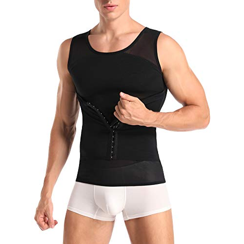 Joweechy Men Slimming Body Shaper Compression Vest Chest Tummy Control Shapewear Waist Trainer Girdle Belt Posture Corrector Tank Top