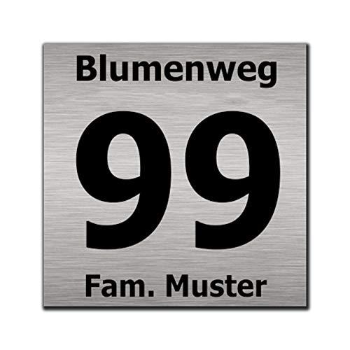 Hausnummernschild Hausnummer Straßenname in Edelstah Design Look optional mit Abstandhalter, Schrauben+Dübel (15 x 15 cm)