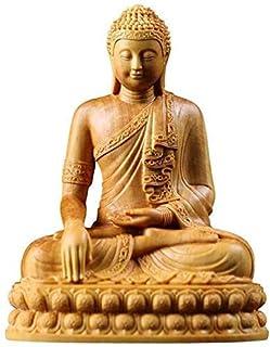 Dragon Brass Statue Boxwood Serene Sitting Buddha Statue,Wood Chinese Chinese Ornaments Decor Figurine,Home and Office Scu...