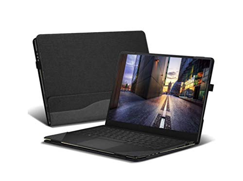 Honeymoon Case Cover for HP Spectre x360 15t-EBxxx Touch 15.6 Inch,PU Leather Folio Stand Hard Shell Case Compatible with HP Spectre X360 Convertible 15-eb0036tx 15' Series,Black