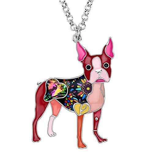 AISHIPING Emaille Alloy Crystal Strass Boston Terrier hond halsketting hanger cartoon dier sieraden