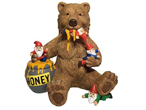 GlitZGlam Ours et Gnomes Miniatures avec Miel, Une Statue de Nain de Jardin pour Votre Jardin enchanté