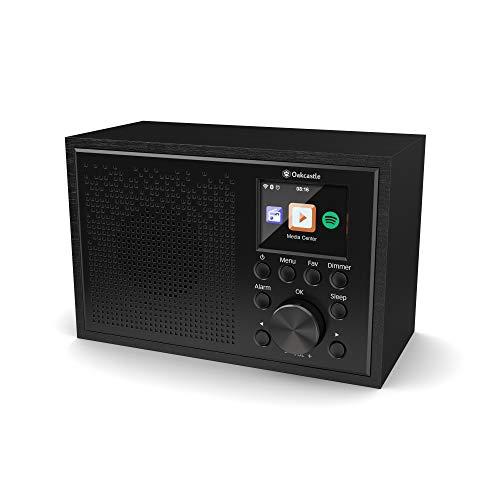 Oakcastle Internet Radio WiFi, Spotify Connect, Bluetooth, Alarma Dual, Line in, Control de Aplicaciones, Pantalla a Color (Negro)