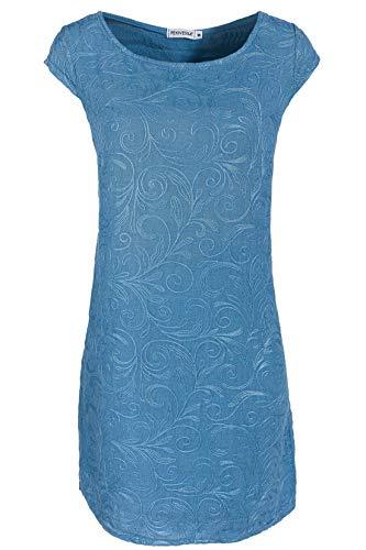 PEKIVESSA Damen Leinenkleid Häkel-Stickerei Sommerkleid Jeansblau 42 (Herstellergröße XL)